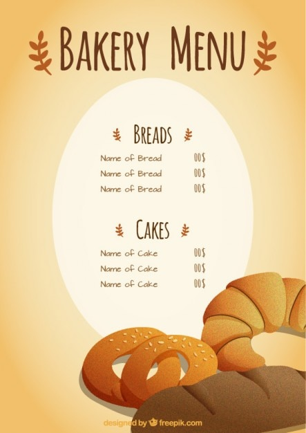 Bakery menu template Vector | Premium Download