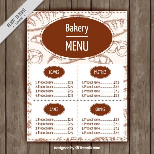Cake Shop Menu Design