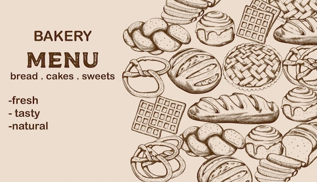 Bakery menu with bread, cakes, sweets and place for text Free Vector