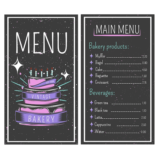 Bakery menu Free Vector