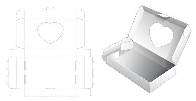 ハートウィンドウダイカットテンプレート付きベーカリー包装 Premiumベクター