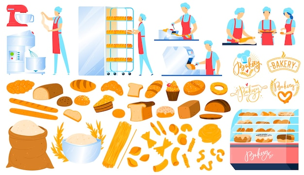 Bakery, pastry equipment, bread food isolated icons set of  illustrations. Premium Vector