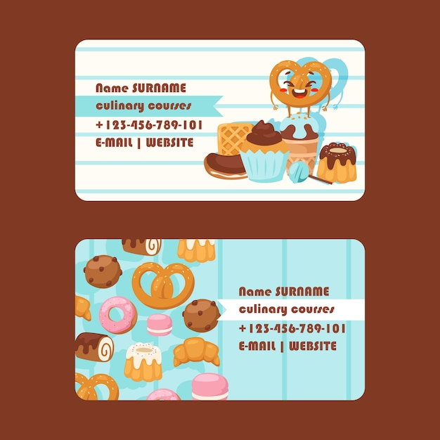 Bakery or pastry shop business card Premium Vector