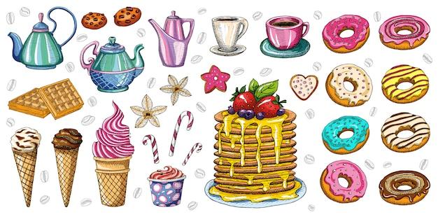 Хлебобулочные кондитерские изделия сладости десерты предметы коллекции магазин кафе плакат ресторан меню еда. Premium векторы