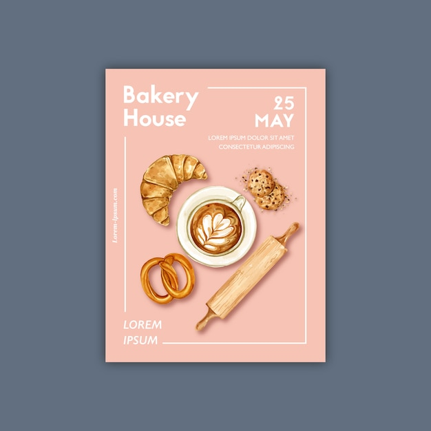 Bakery poster template. bread and bun collection. home made Free Vector