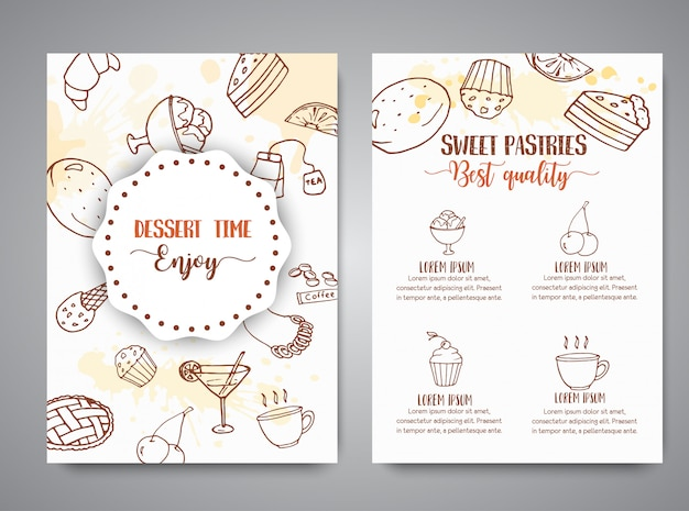 Bakery poster template with pastries. Premium Vector