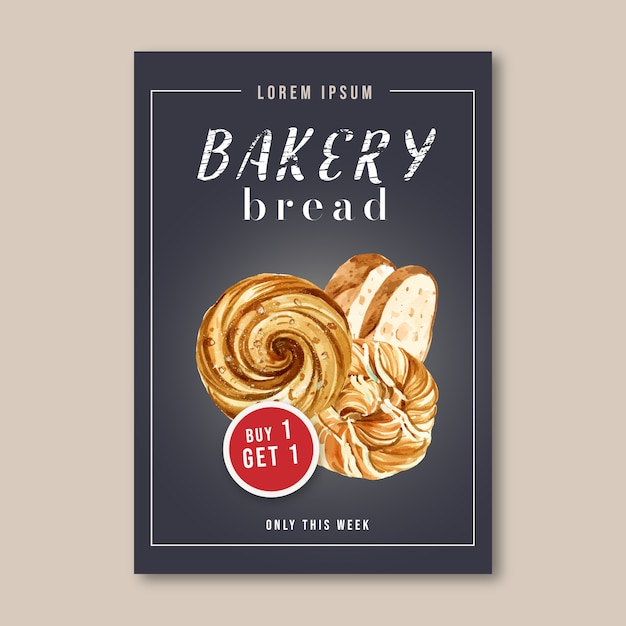 Bakery poster template. Free Vector