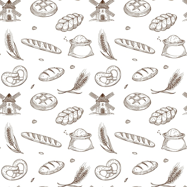 Bakery products, old mill and fresh spikes inside seamless pattern Premium Vector