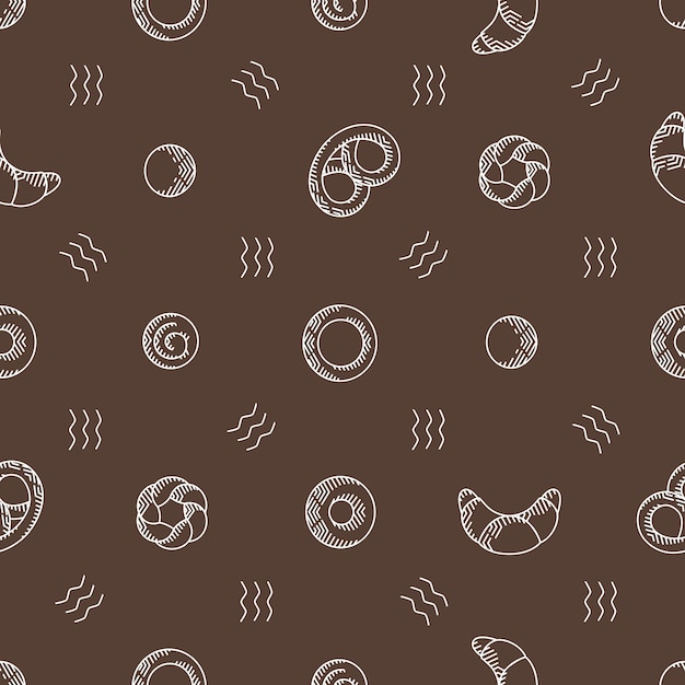 Bakery products seamless vector pattern Premium Vector