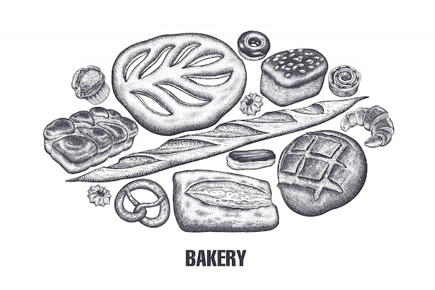 Bakery products set. variations of bread. Premium Vector