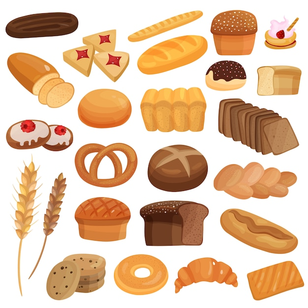 Bakery products set Free Vector