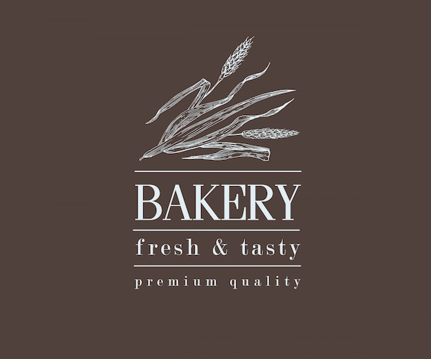 Bakery retro bread or beer logo with wheat, vintage Premium Vector