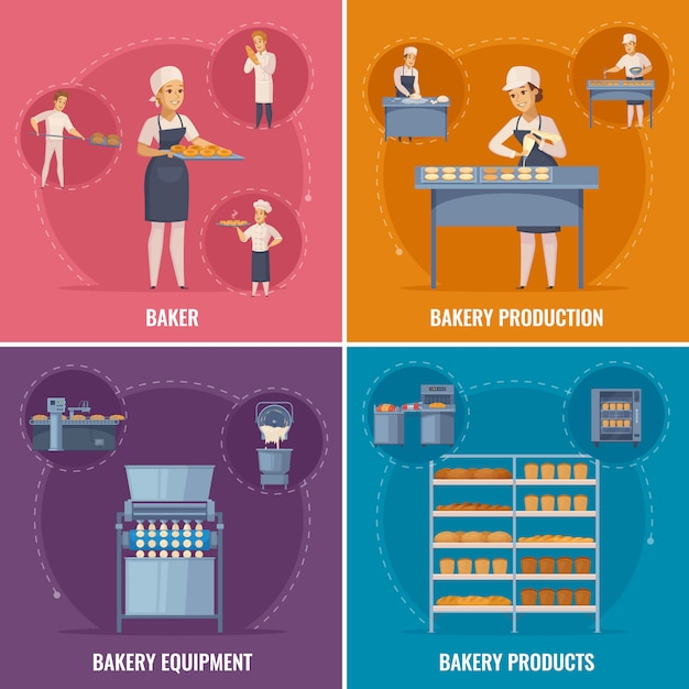 Bakery scene collection Free Vector