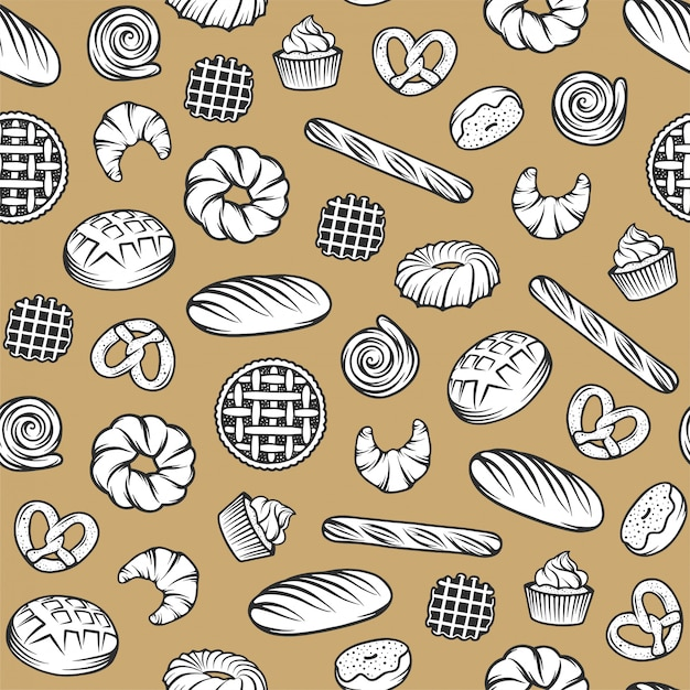 Bakery seamless pattern with engraved elements. background design with bread, pastry, pie, buns, sweets, cupcake Premium Vector