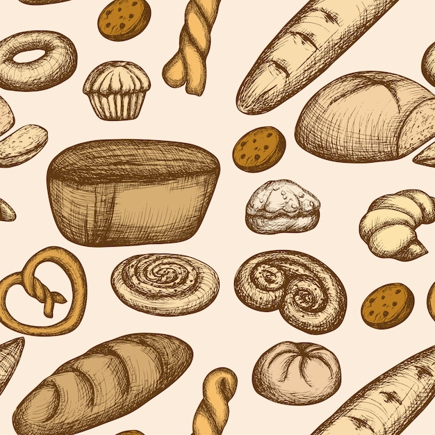 Bakery seamless pattern Free Vector