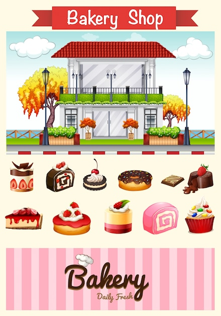 Bakery shop and desserts illustration