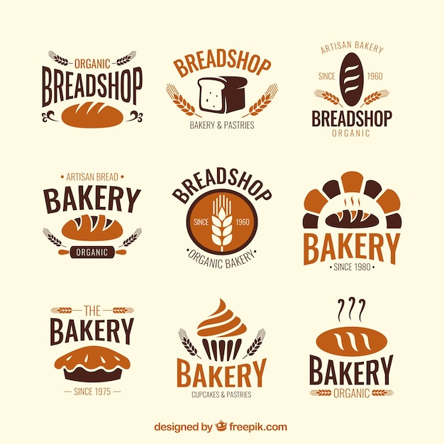 Bakery shop badges Free Vector