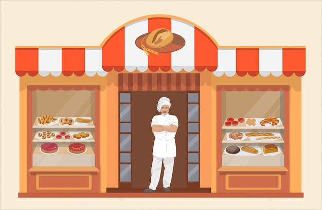 Bakery shop building with bakery products and baker Premium Vector