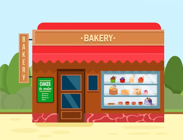 Bakery shop building with sweet desserts banner. Premium Vector