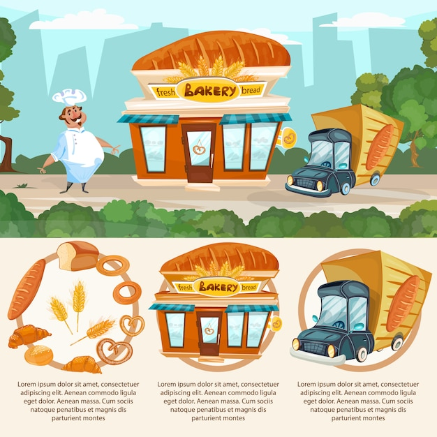 Bakery shop fresh bread baker delivery truck vector set Premium Vector