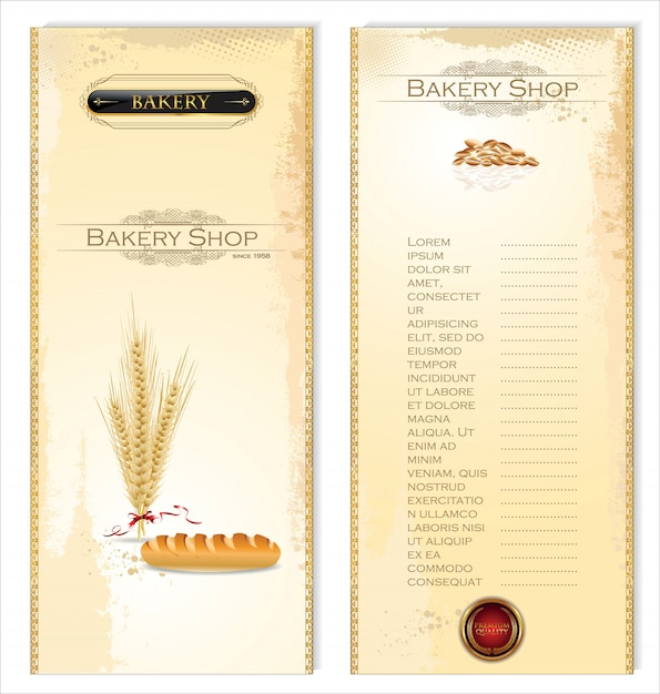 Bakery shop menu card Premium Vector