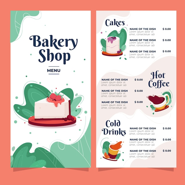 Bakery shop menu with sweets and drinks Free Vector