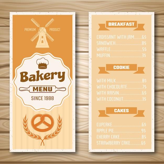 Пекарня магазин меню Бесплатные векторы