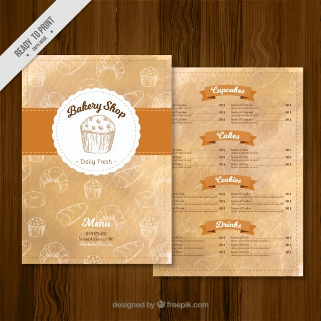 Bakery shop menu Free Vector