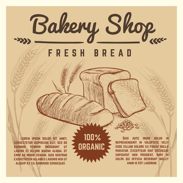 Bakery shop vector retro poster Premium Vector