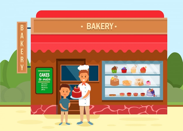 Bakery shop with chef giving cake to boy banner. Premium Vector