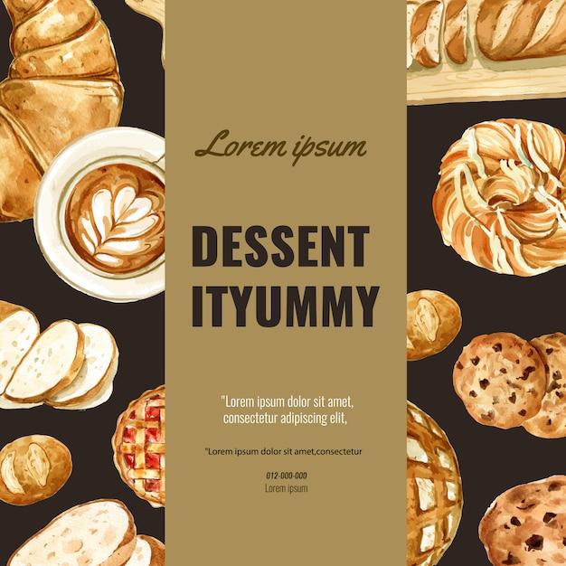 Bakery social media template. bread and bun collection. home made Free Vector