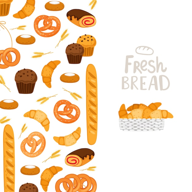 Bakery  template.  pastry, fresh bread, muffins illustration Premium Vector