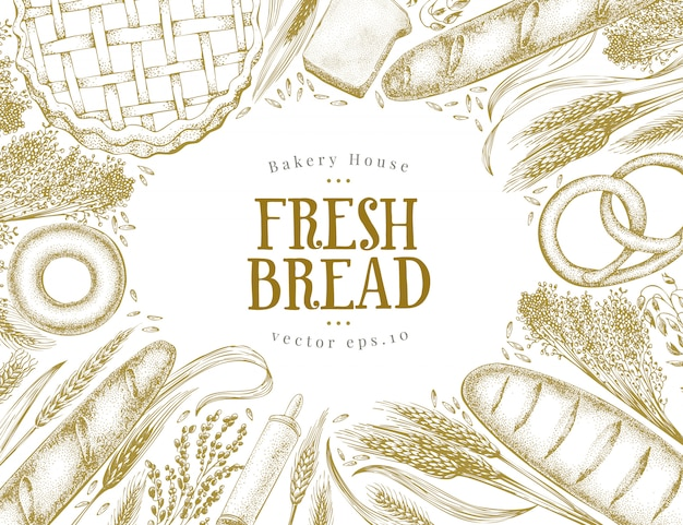 Bakery top view banner. hand drawn frame with bread, pastry, wheat. Premium Vector