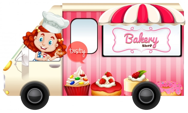 Bakery truck with baker driving Free Vector