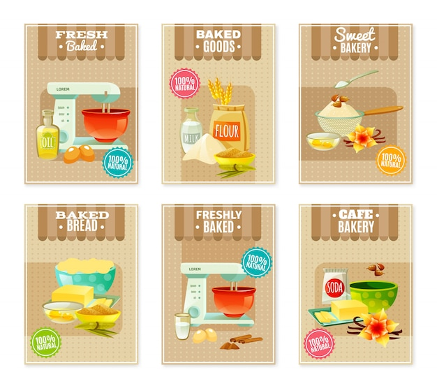 Baking banners and cards Free Vector