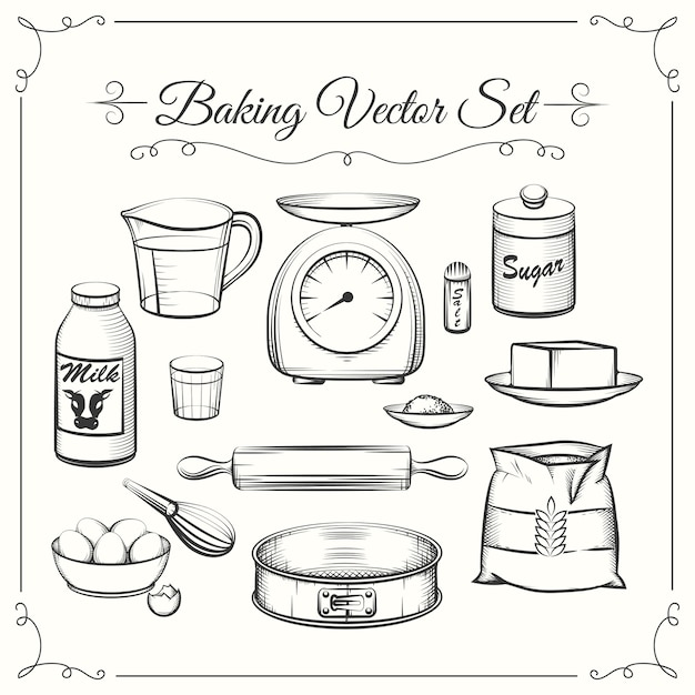 Baking food ingredients and kitchen tools in hand drawn vector style. food cooking pastry, sieve and scales, flour and sugar illustration Free Vector