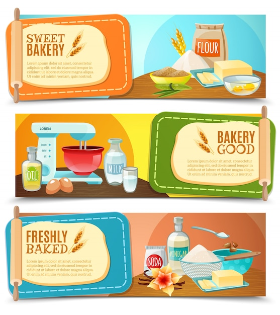 Baking ingredients horizontal banners Free Vector