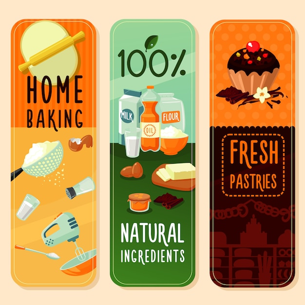 Baking ingredients vertical banners Free Vector