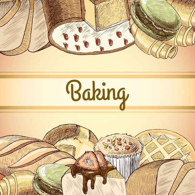 Baking pastry background Free Vector