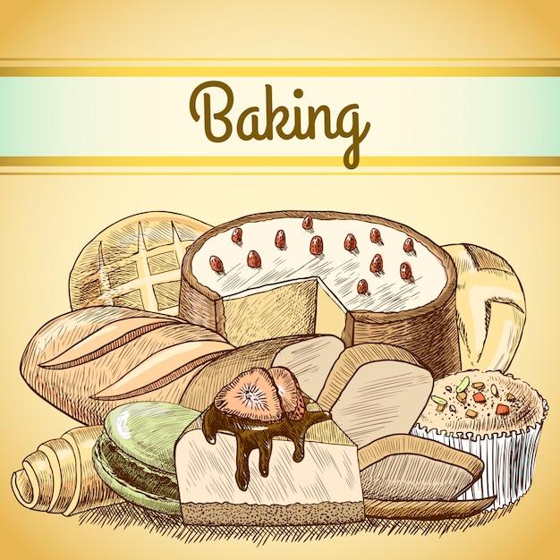 Baking pastry vintage drawing Premium Vector