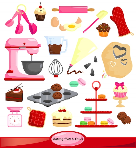 Baking tools vector set Premium Vector
