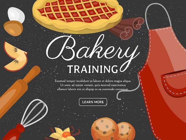 Пекарня учебная школа баннер. шоколадно-фруктовые десерты кондитерская с кексом Premium векторы