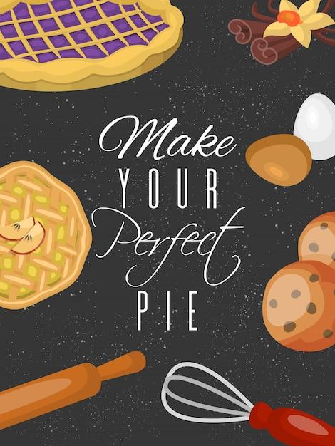 Плакат, учебный плакат школы. шоколадно-фруктовые десерты кондитерская с кексами Premium векторы