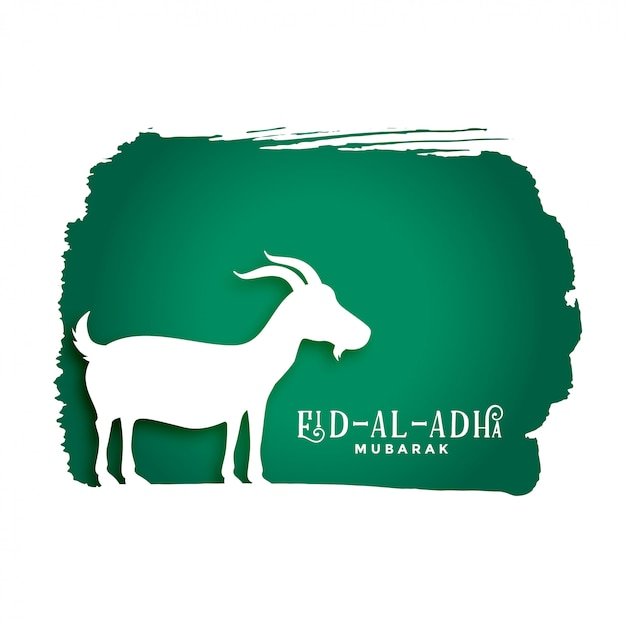 Bakrid eid al adha festival background with goat silhouette Free Vector