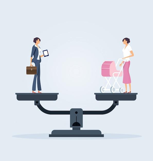 Balance between career and family Premium Vector