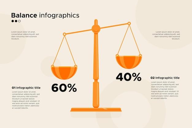 균형 Infographics 비즈니스 개념 프리미엄 벡터