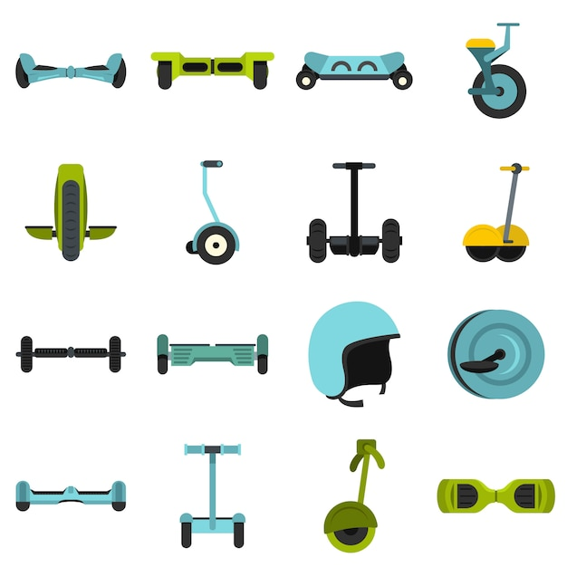 Balancing scooter icons set in flat style Premium Vector