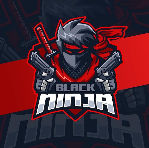 Balck ninja with gun mascot esport logo design Premium Vector