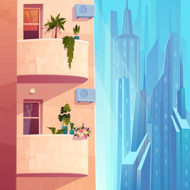 Балконы с растениями и цветами, кондиционеры на многоэтажном доме в мегаполисе мультяшный вектор. Бесплатные векторы