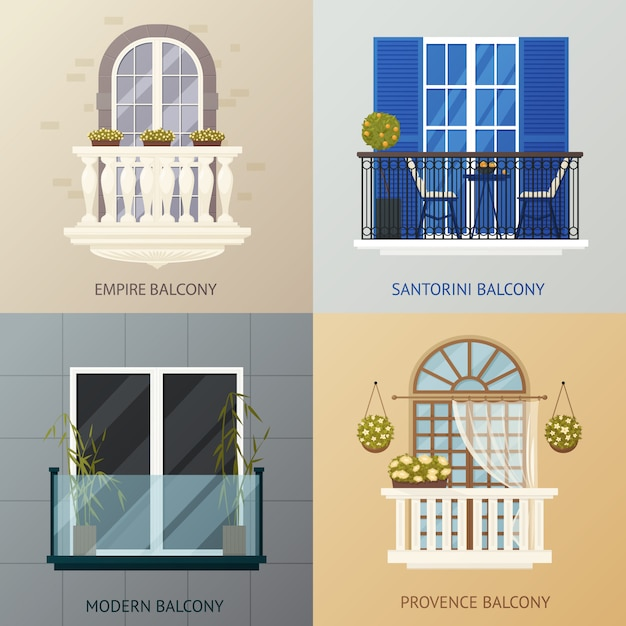 Balcony design compositions set Free Vector